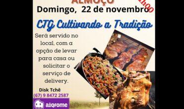Neste domingo (08) tem churrasco no Galpão Crioulo do CTG