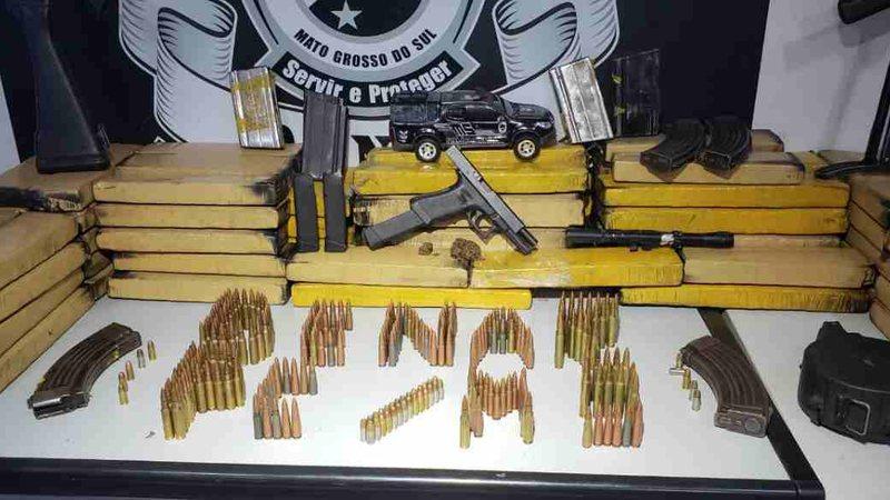 Presa quadrilha que levaria fuzis e pistola de Campo Grande para Goiás em caminhão
